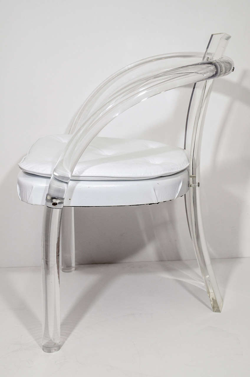 Late 20th Century Mid Century Pair of Lucite and Vinyl Chairs Attributed to Charles Hollis Jones For Sale