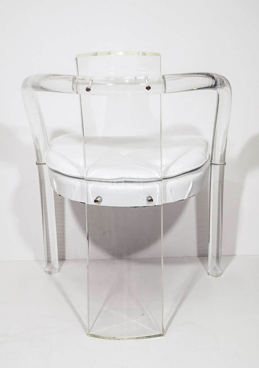 Mid Century Pair of Lucite and Vinyl Chairs Attributed to Charles Hollis Jones For Sale 1
