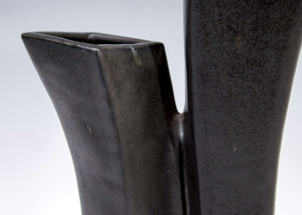 20th Century Mid Century Japanese Black Ceramic Vase For Sale