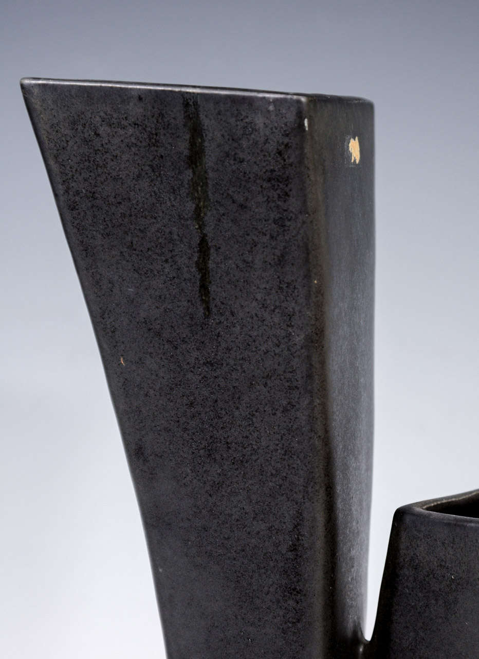 Mid Century Japanese Black Ceramic Vase For Sale 3