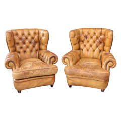 1930's Pair of Unbelievable Chesterfield Chairs with Gorgeous Unique Patina