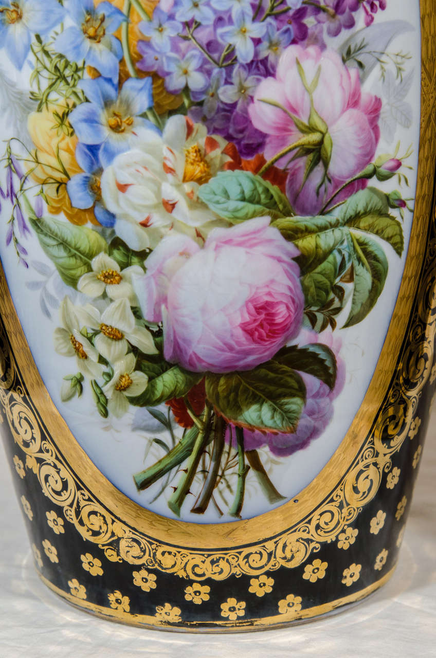 Louis Philippe  Pair Large Paris Porcelain Vases Hand-Painted with Flowers and Blue Ground For Sale