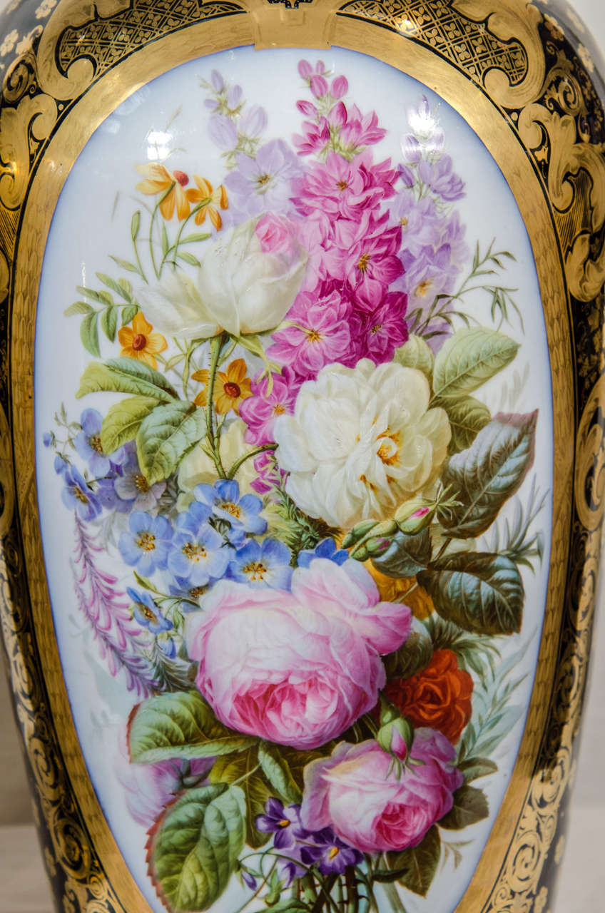 French  Pair Large Paris Porcelain Vases Hand-Painted with Flowers and Blue Ground For Sale