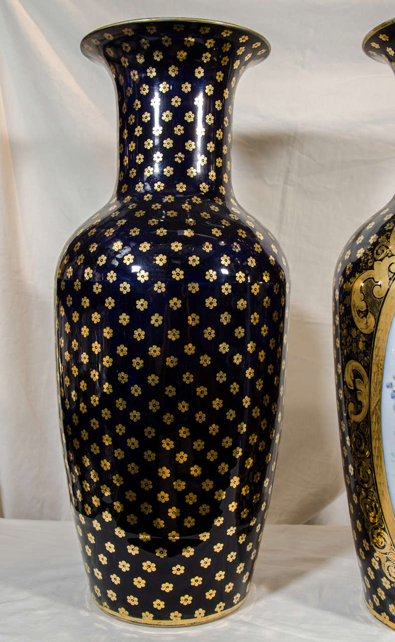 19th Century  Pair Large Paris Porcelain Vases Hand-Painted with Flowers and Blue Ground For Sale