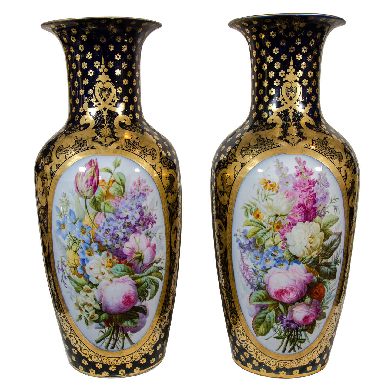 Pair Large Paris Porcelain Vases Hand-Painted with Flowers and Blue Ground For Sale