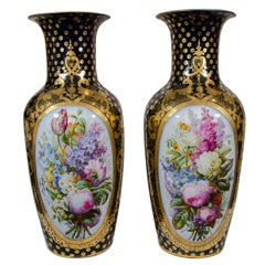 Pair Large Paris Porcelain Vases Hand-Painted Flowers & Blue Ground circa 1840