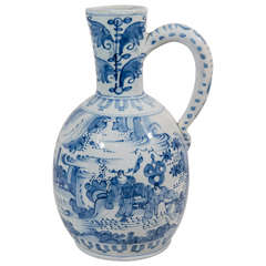Antique Delft Blue and White Wine Jug