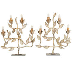 "Pair ""Leafy"" Four  Candle Standing Lights"