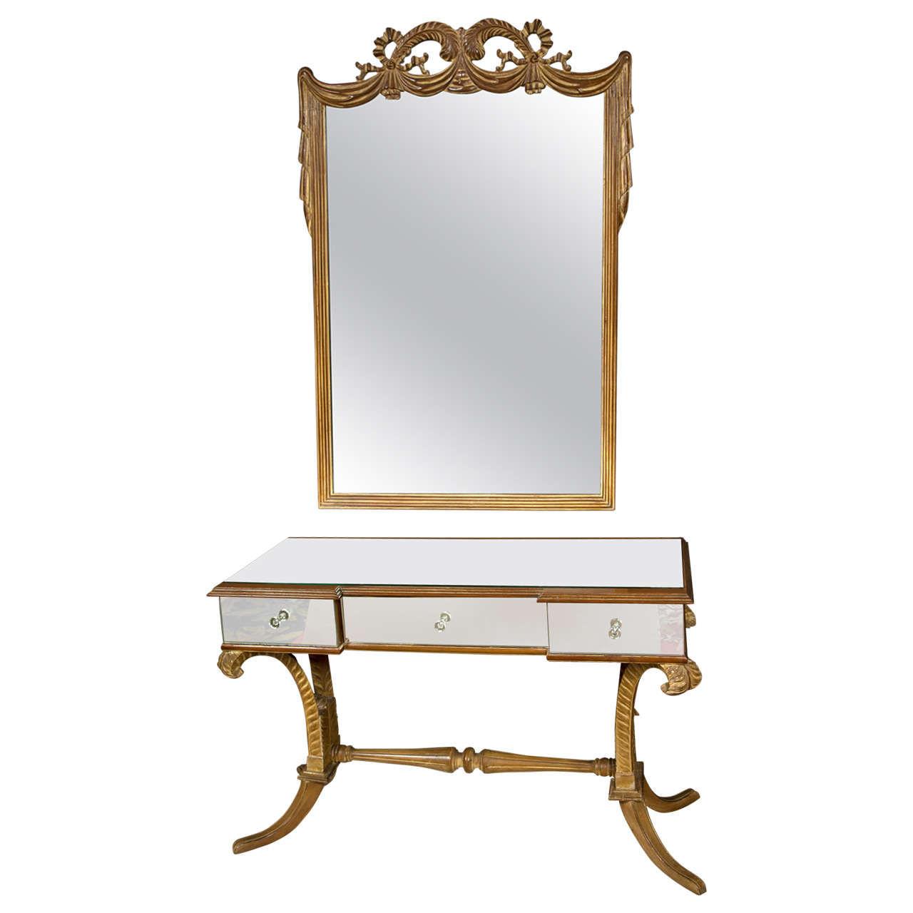 Grosfeld House Art Deco Fleur de Plume Matching Mirrored Vanity Mirror Bench