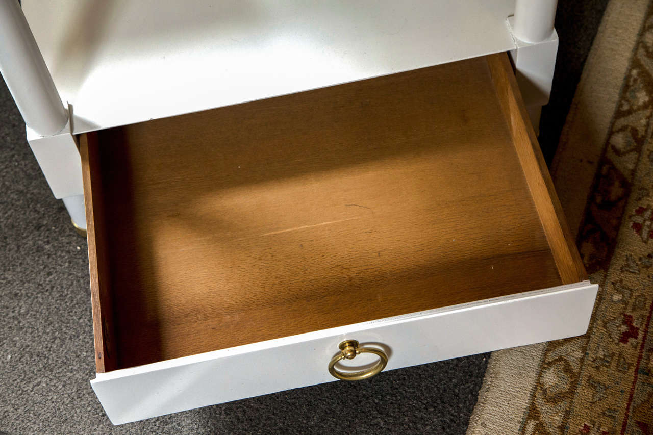 Pair of Baker White Lacquered End Tables For Sale 1
