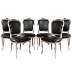 Set of Six Paint-Decorated Leather Dining / Side Chairs