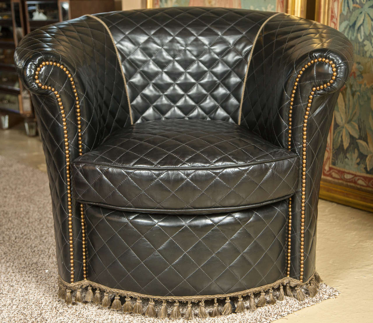 Hollywood Regency A Group Of Four Coco Chanel Styled Barrel Back Leather  Chairs For Sale