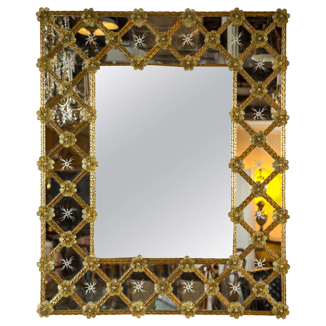 Venetian etched glass and colored wall mirror at 1stdibs for Specchio murano antico