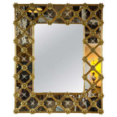 Venetian Etched Glass and Colored Wall Mirror