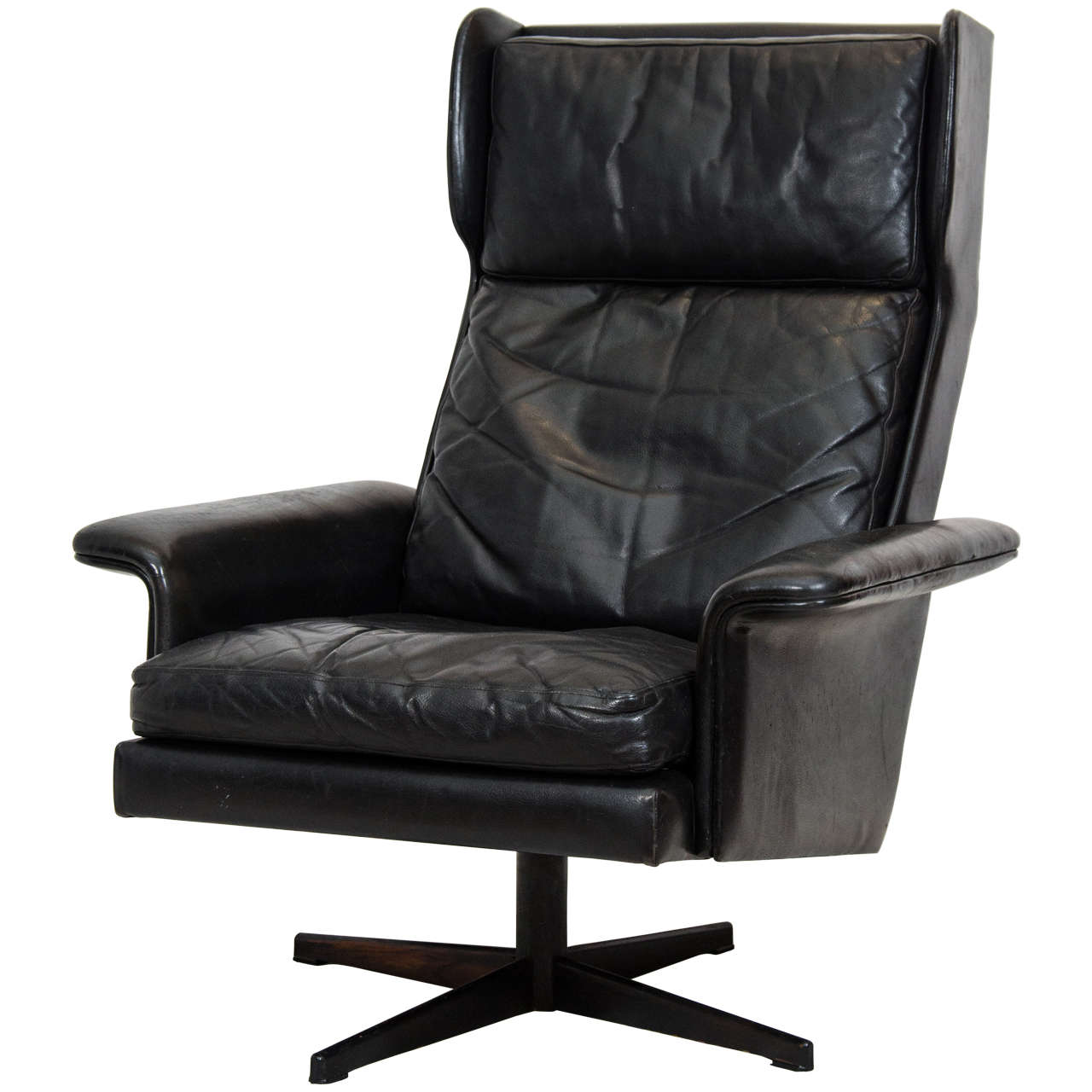 Danish Wing Back Swivel Lounge Chair At 1stdibs