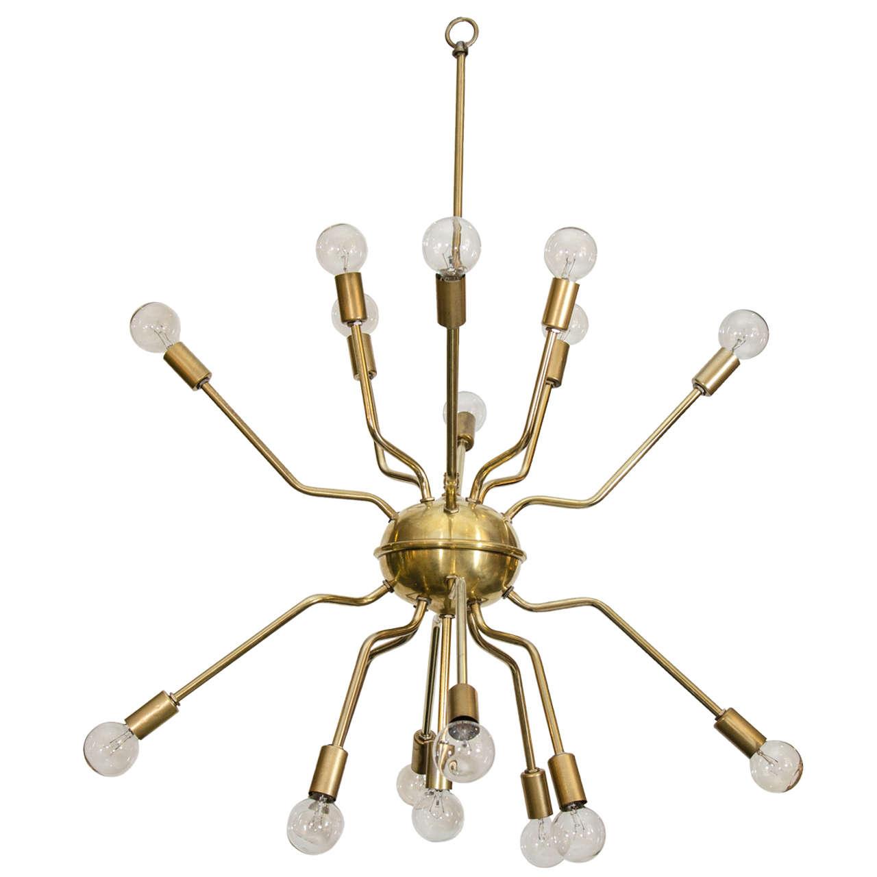 Italian Brass Spider Sputnik Chandelier Pendant Attr To