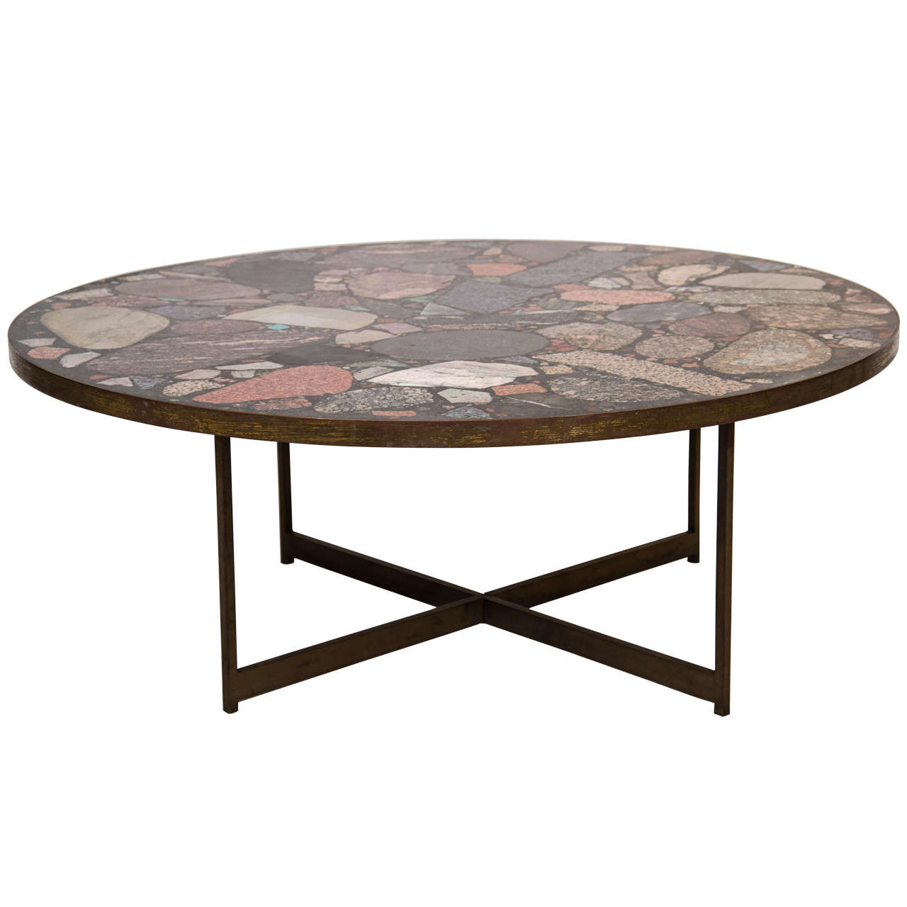 Italian Bronze And Terrazzo Coffee Table At 1stdibs