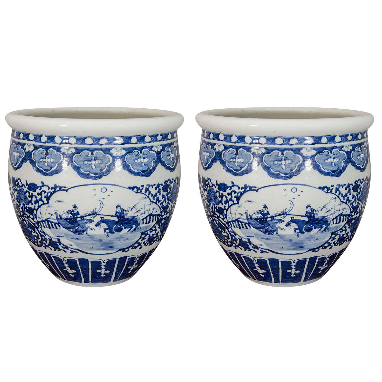 Pair Of Chinese Blue And White Porcelain Fish Bowl Planters For Sale