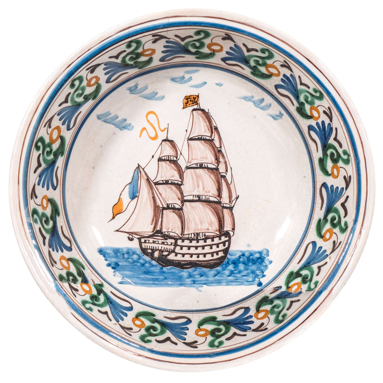 French Faience Bowl with a Sailing Ship