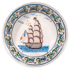 Antique French Faience Bowl with a Sailing Ship Made circa 1860
