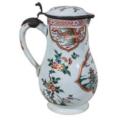 Chinese Famille Verte Water Pitcher with Period Silver Mount