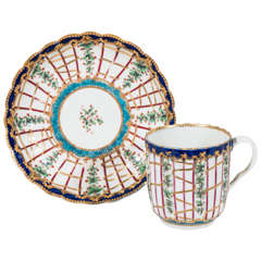First Period Worcester Porcelain Hop Trellis Cup and Saucer