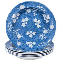 Six Blue and White Deep Dishes Decorated with Hawthorne Blossoms