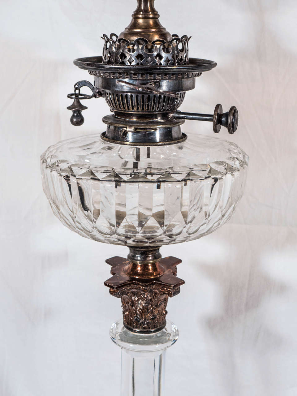 Neoclassical Pair of English Cut-Glass Oil Lamps: Now Electrified For Sale