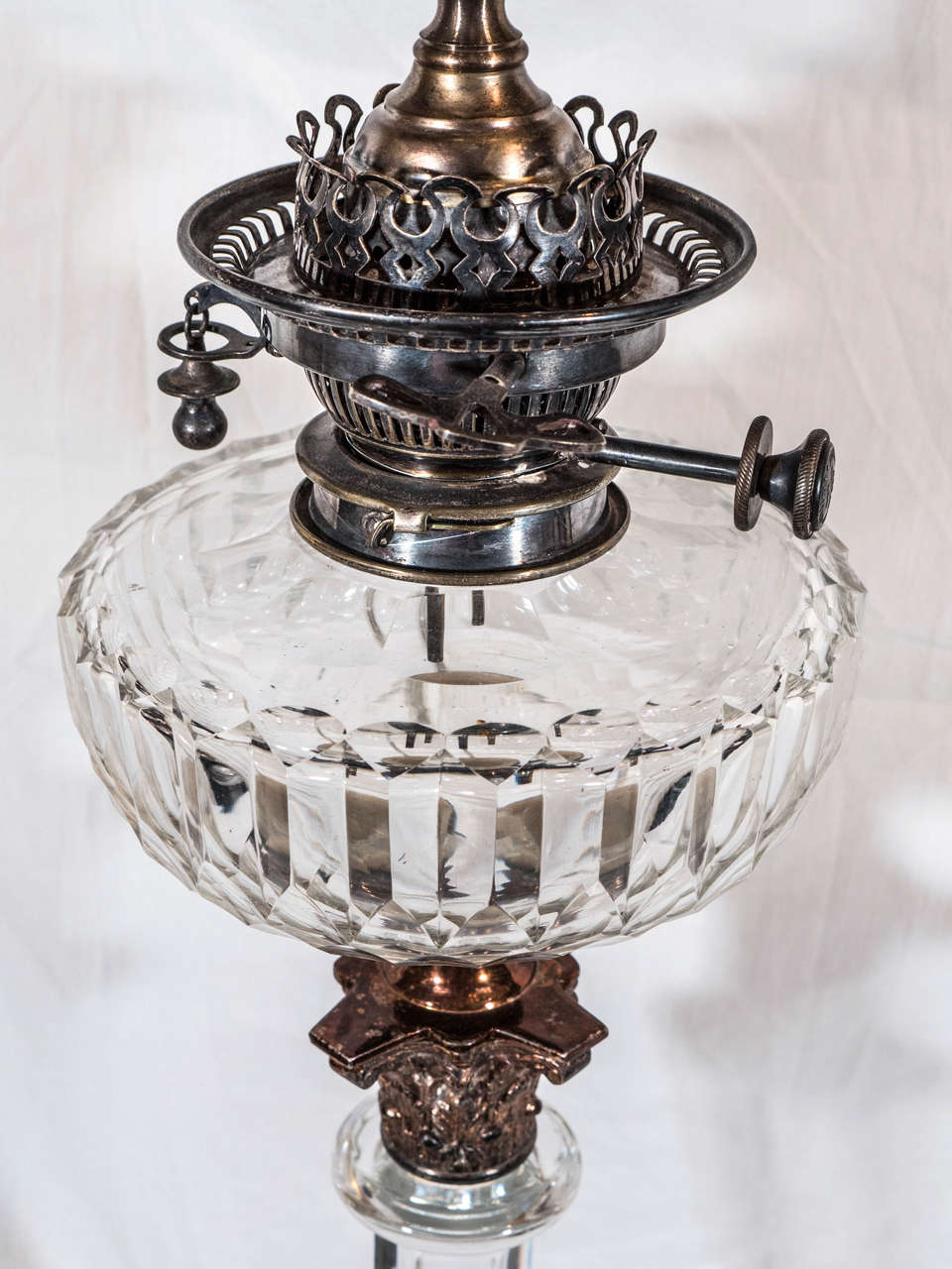 Crystal Pair of English Cut-Glass Oil Lamps: Now Electrified For Sale