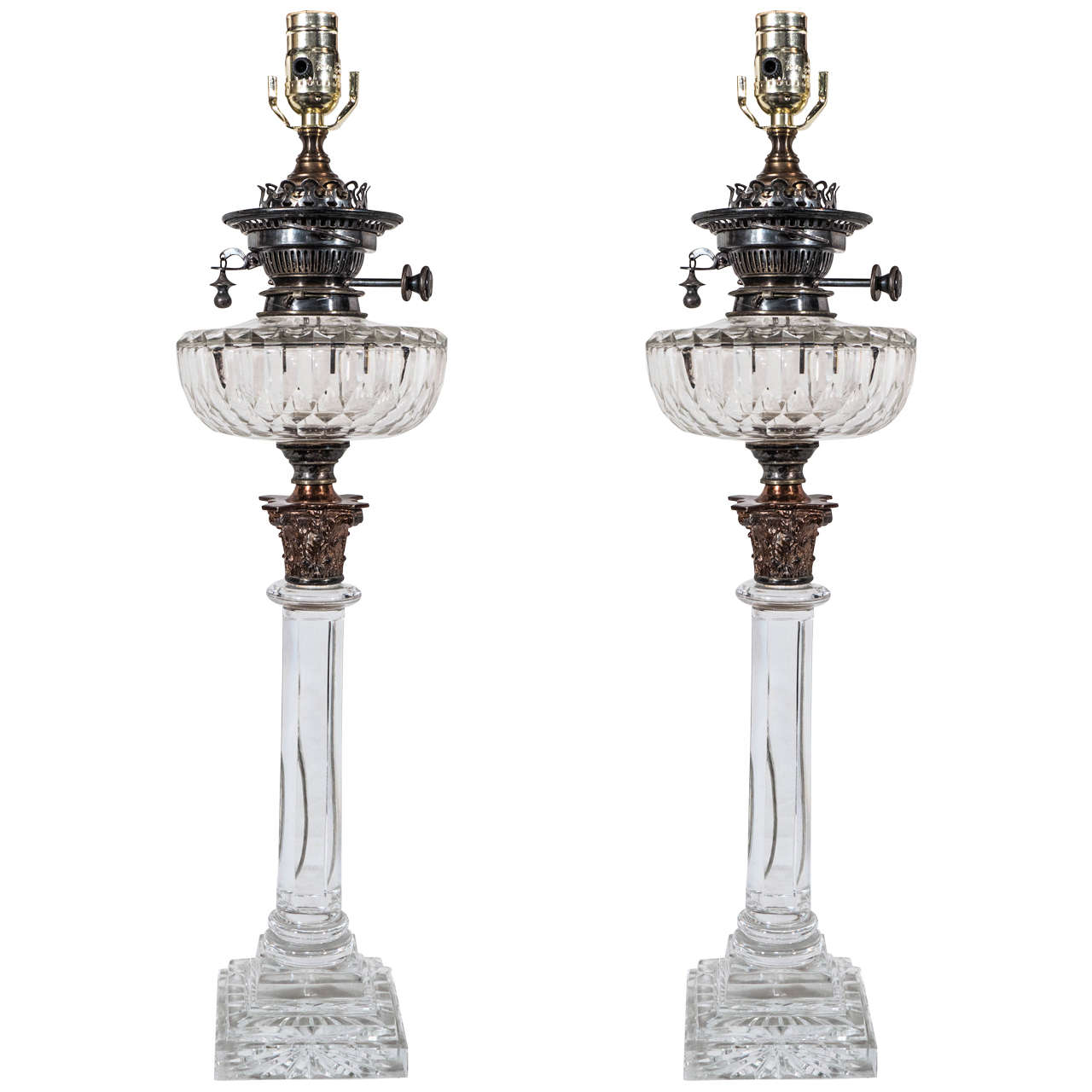 Crystal Chandelier Table Lamps For Sale: Pair Of English Cut-Glass Crystal Oil Lamps For Sale At