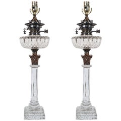 Pair of English Cut-Glass Oil Lamps Made circa 1900: New Wiring