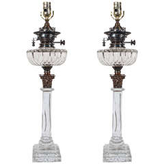 Pair of English Cut-Glass Crystal Oil Lamps