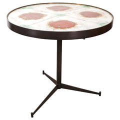 Mid-Century Ceramic Tile-Top Table with Bronze Tripod Base, Signed, circa 1950