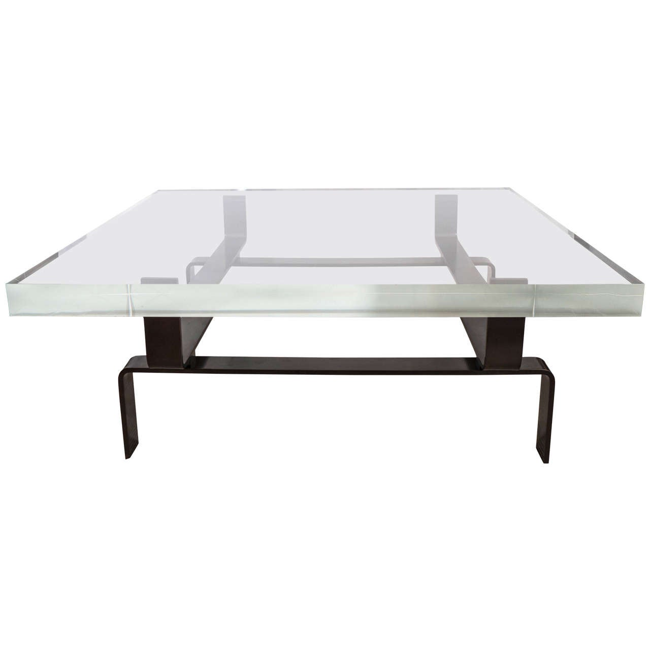 Wood Slab And Lucite Coffee Table At 1stdibs: Limited Edition Lucite And Statuary Bronze Custom Designed