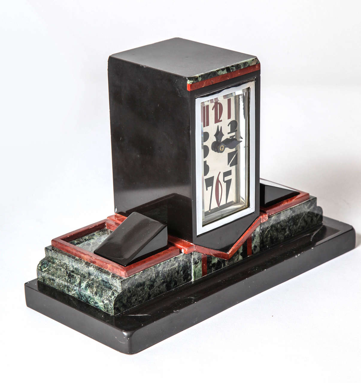 French Art Deco Marble Desk Clock with Enamel Dial, 1925 2