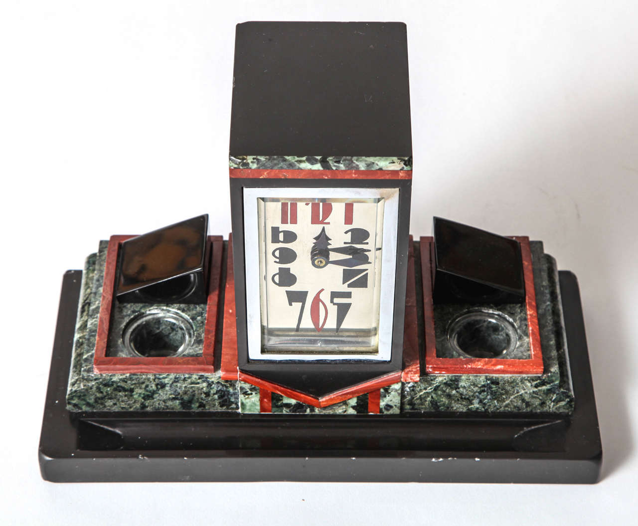 French Art Deco Marble Desk Clock with Enamel Dial, 1925 4