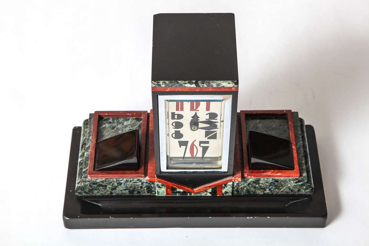 French Art Deco Marble Desk Clock with Enamel Dial, 1925 5