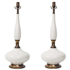 Pair of 1960s White Ceramic Table Lamps