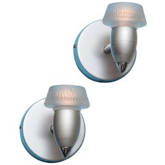 Pair of Modernist Brushed Aluminum and Frosted Glass Sconces