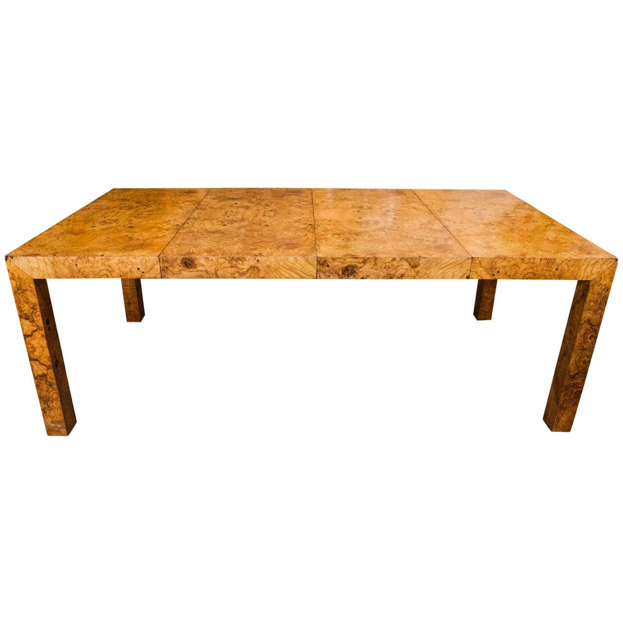 olive burl veneer parsons table at 1stdibs. Black Bedroom Furniture Sets. Home Design Ideas