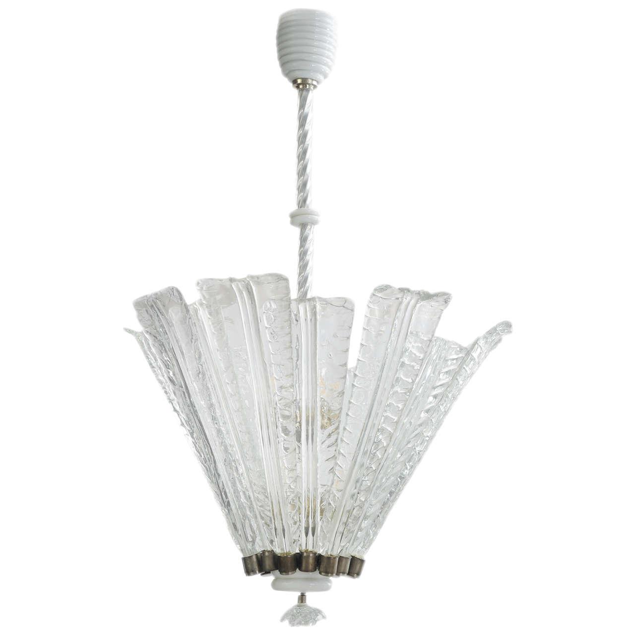 1930s venini chandelier in transparent and lattimo murano glass for 1930s venini chandelier in transparent and lattimo murano glass for sale arubaitofo Gallery