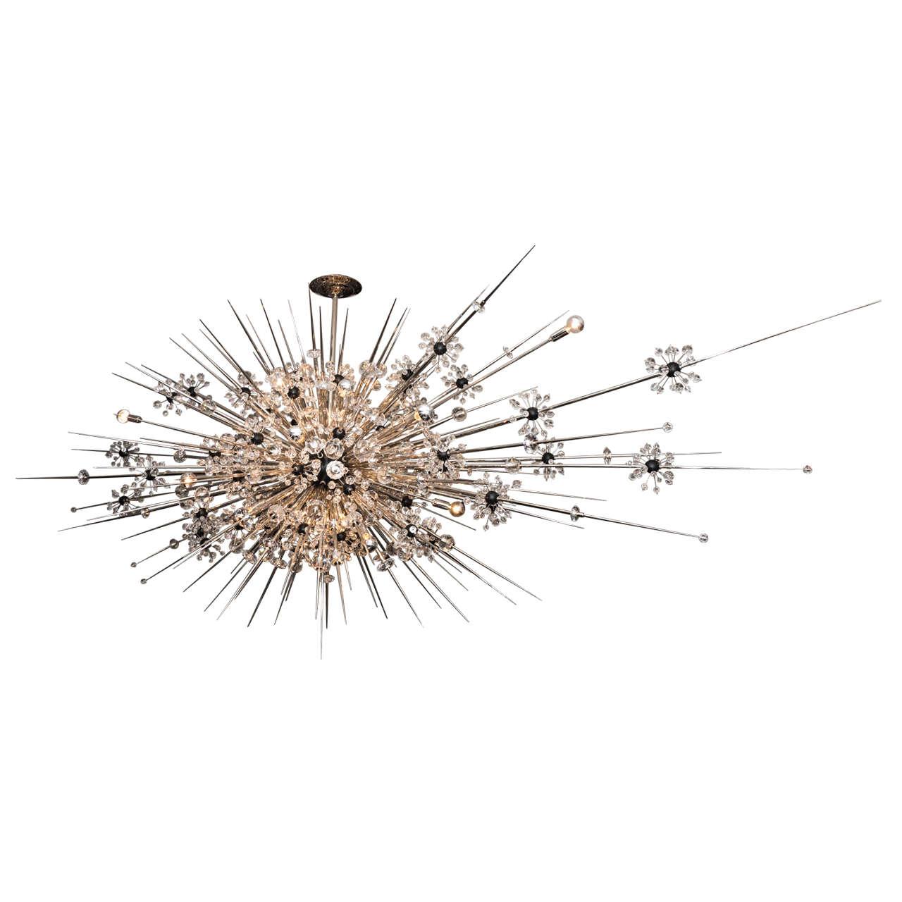 Monumental Custom Handmade Crystal Sputnik with Spikes