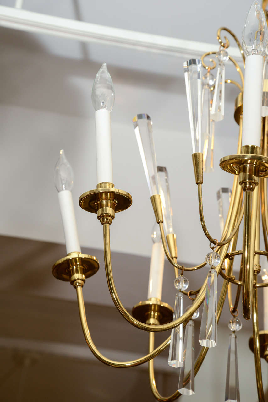 Brass and Crystal Chandelier 3