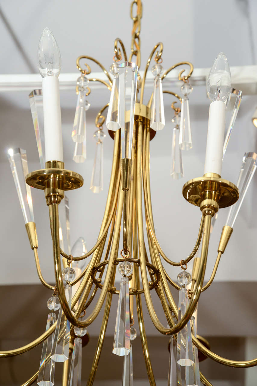 Brass and Crystal Chandelier 4