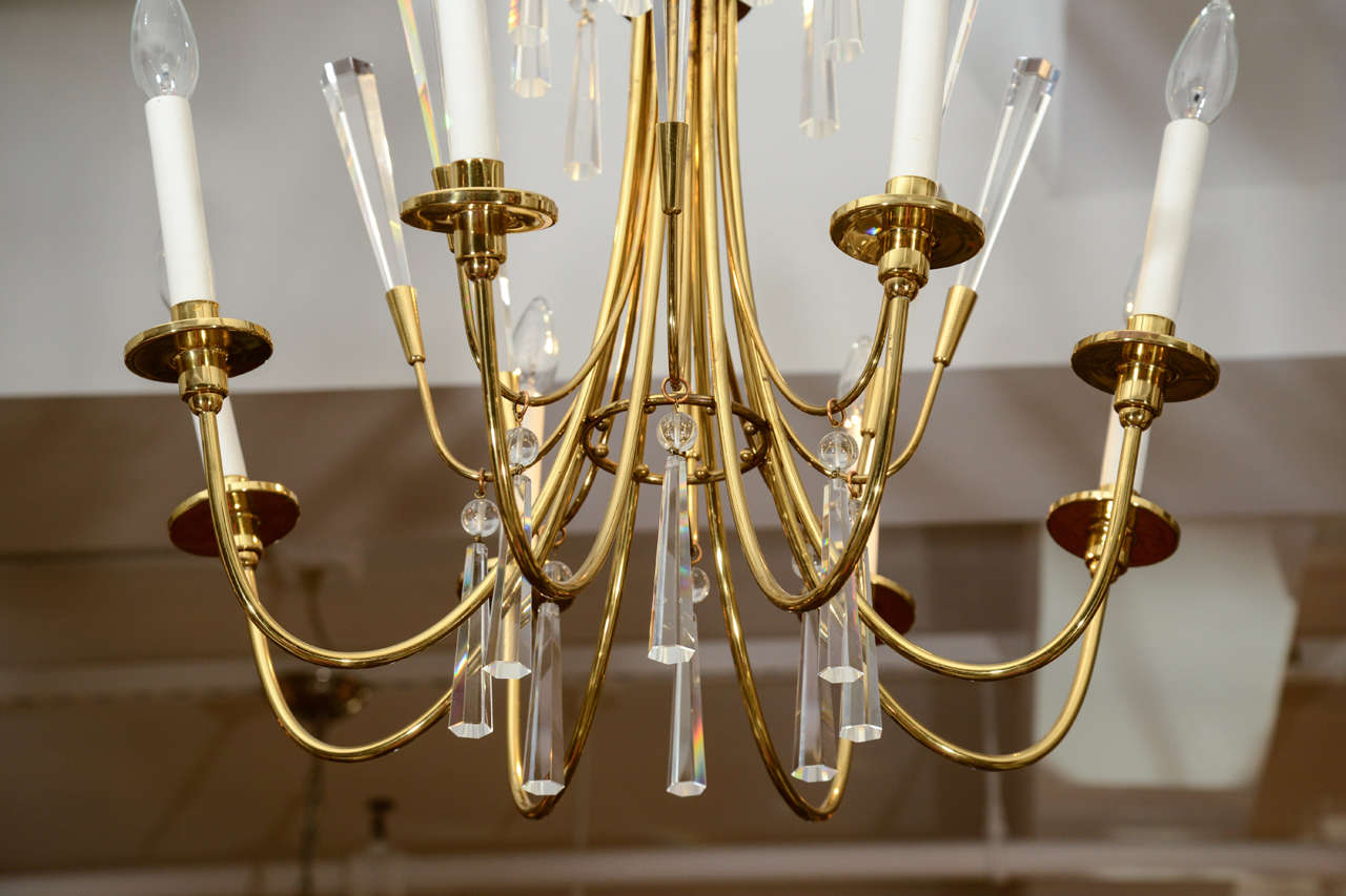 Brass and Crystal Chandelier 5