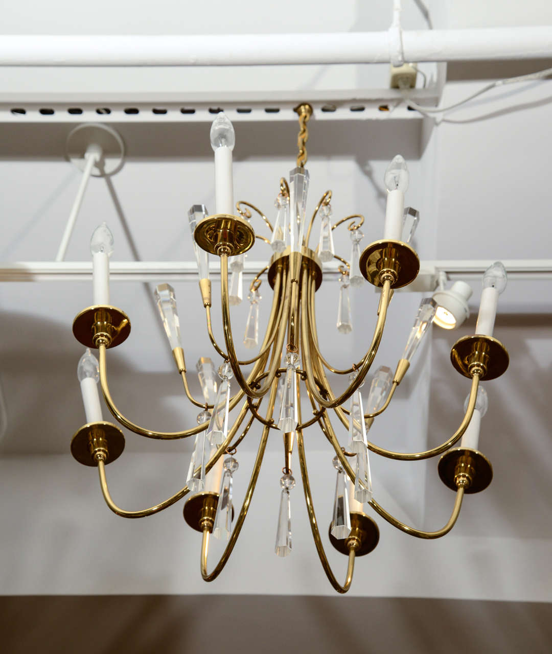Brass and Crystal Chandelier 6