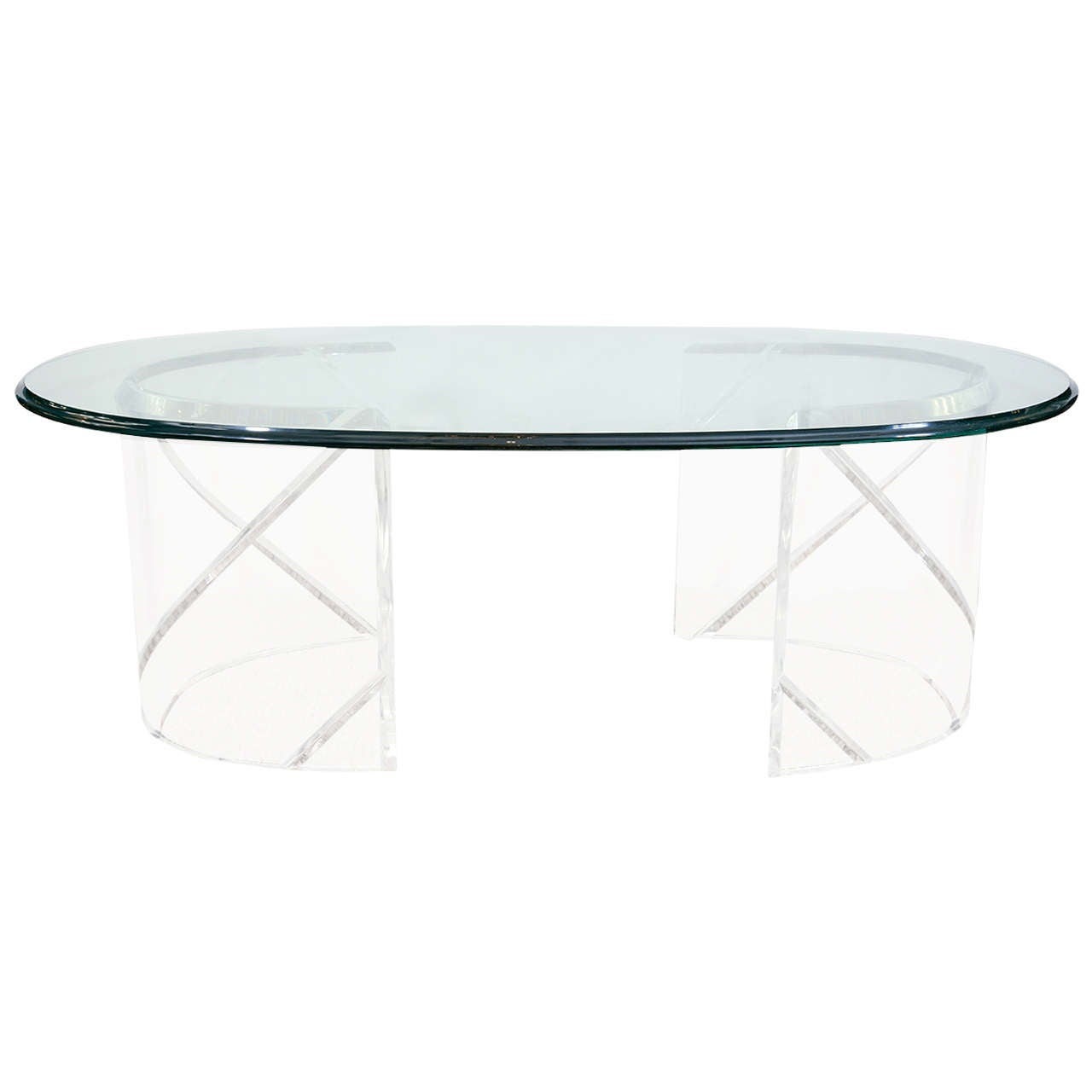 A Lucite And Glass Coffee Table At 1stdibs