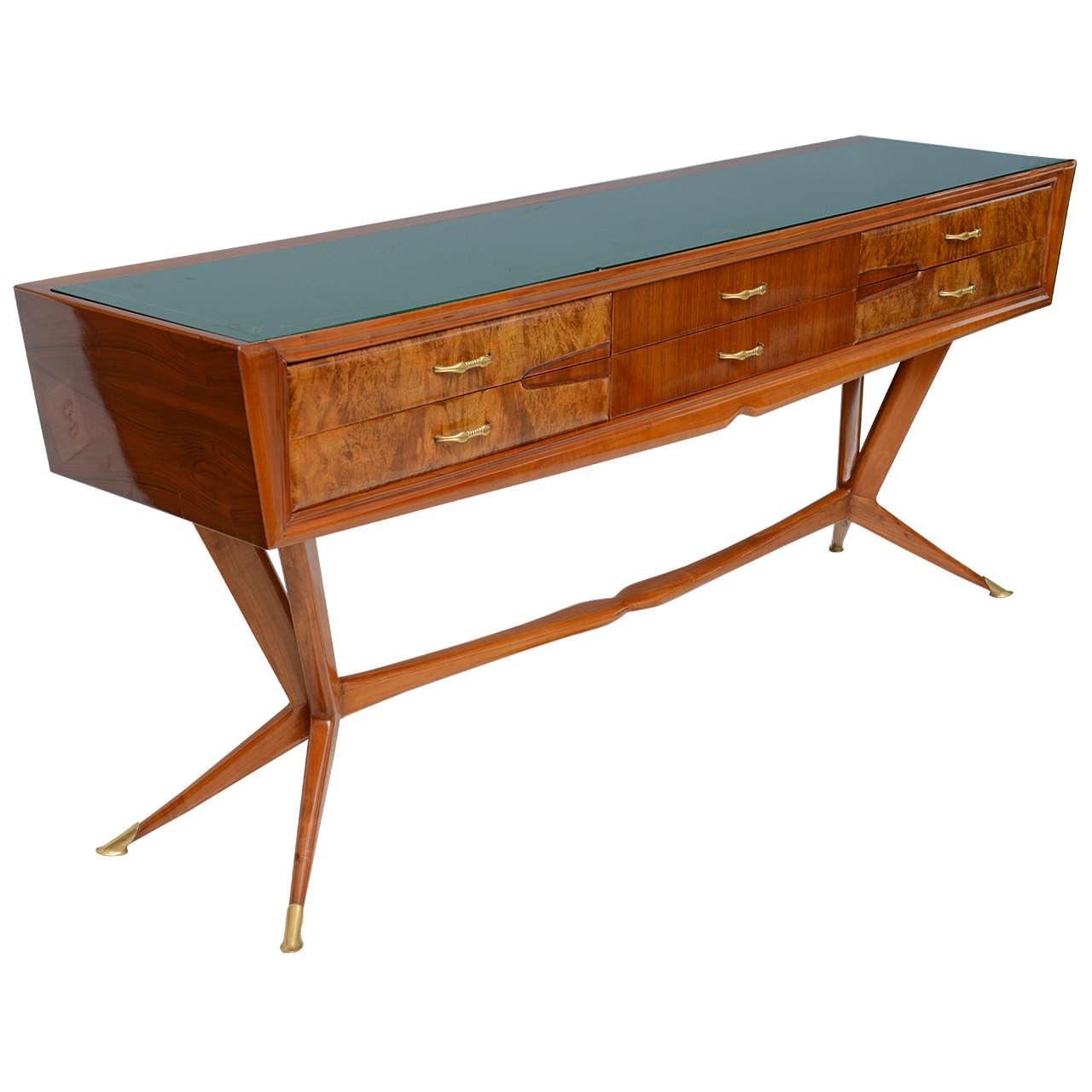 Fine Italian Modern Mahogany Walnut and Rootwood Buffet/Console, Melchiorre Bega