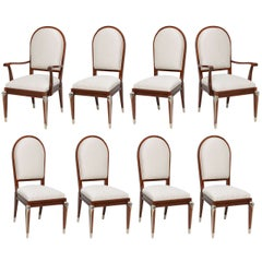 Set of Eight Jean Pascaud Mahogany and Silvered Bronze-Mounted Dining Chairs