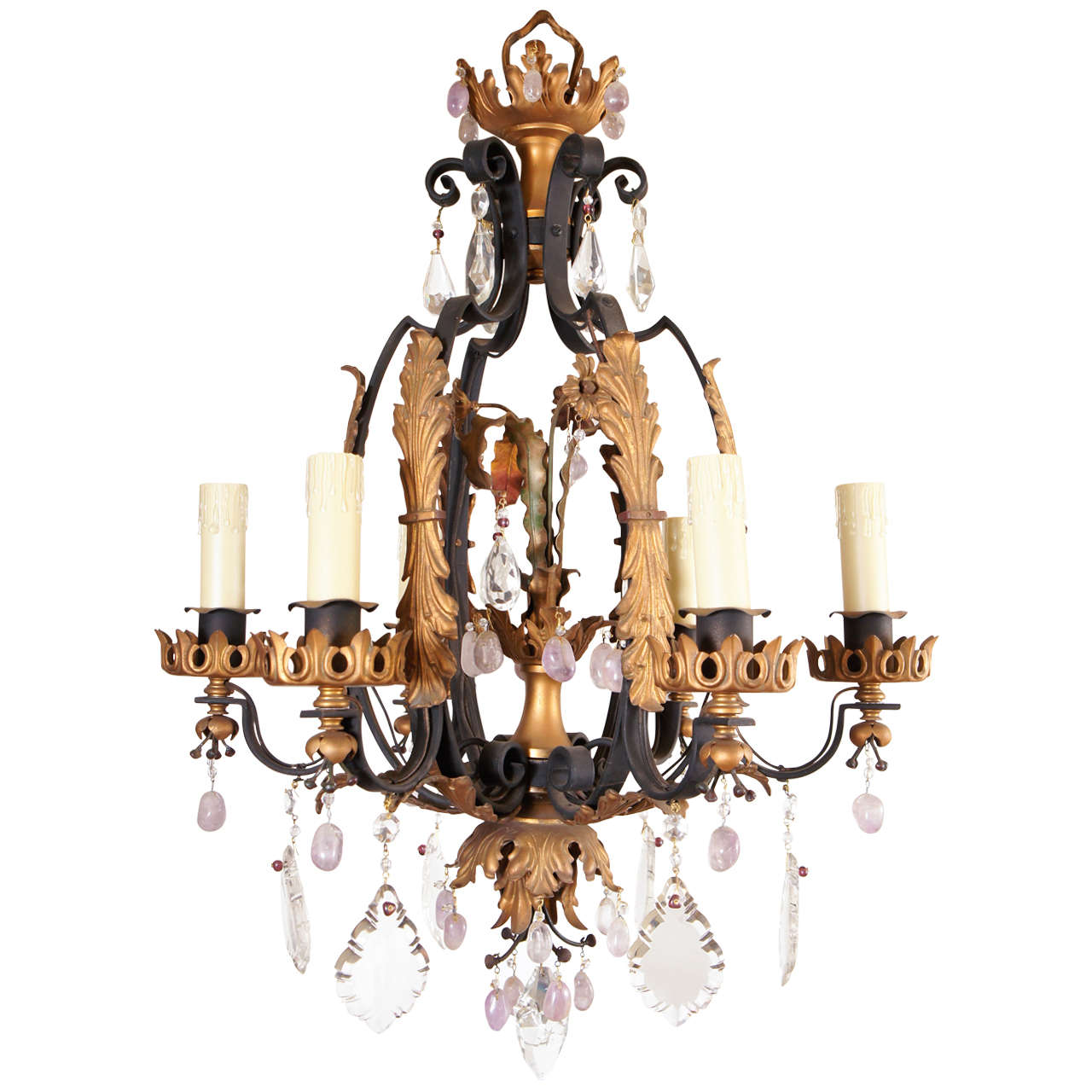 Early 20th c. Iron and Rock Crystal  Six Light Chandelier